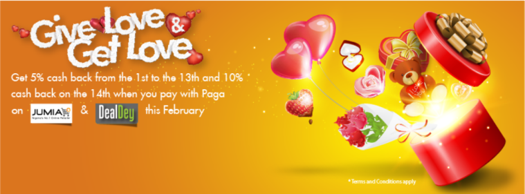 Love is in the air...Get up 10% cash back when you #JustPagait on DealDey or Jumia